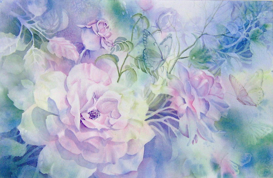 Butterflies Painting - Butterflies-and-roses by Nancy Newman