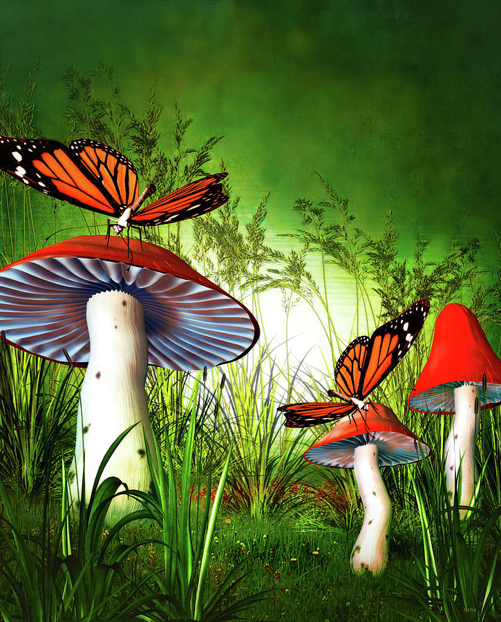 Butterflies and Toadstools by KaFra Art