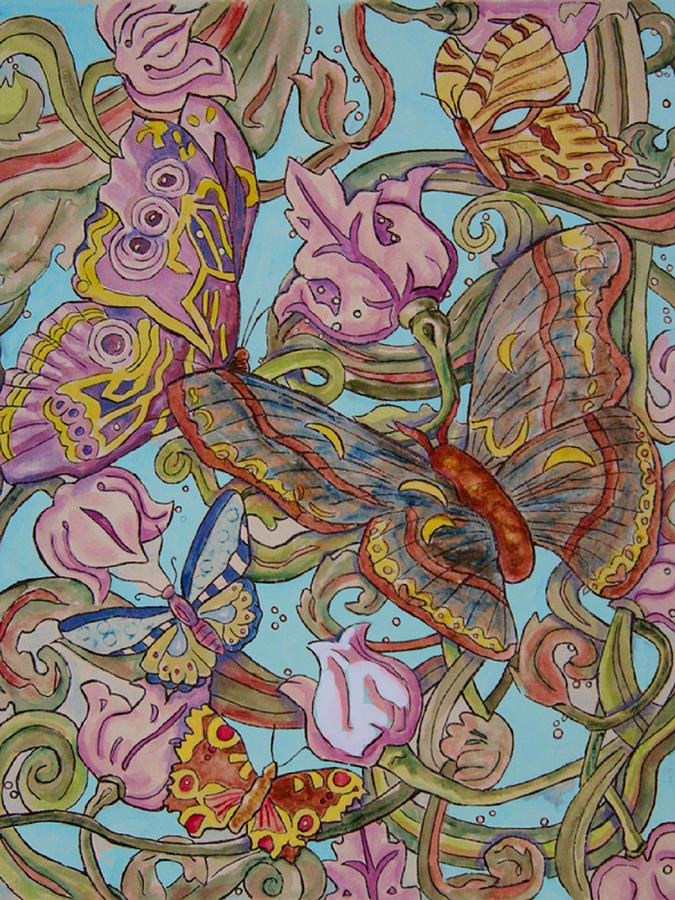 Nature Painting - Butterflies Everywhere by Laura Heggestad