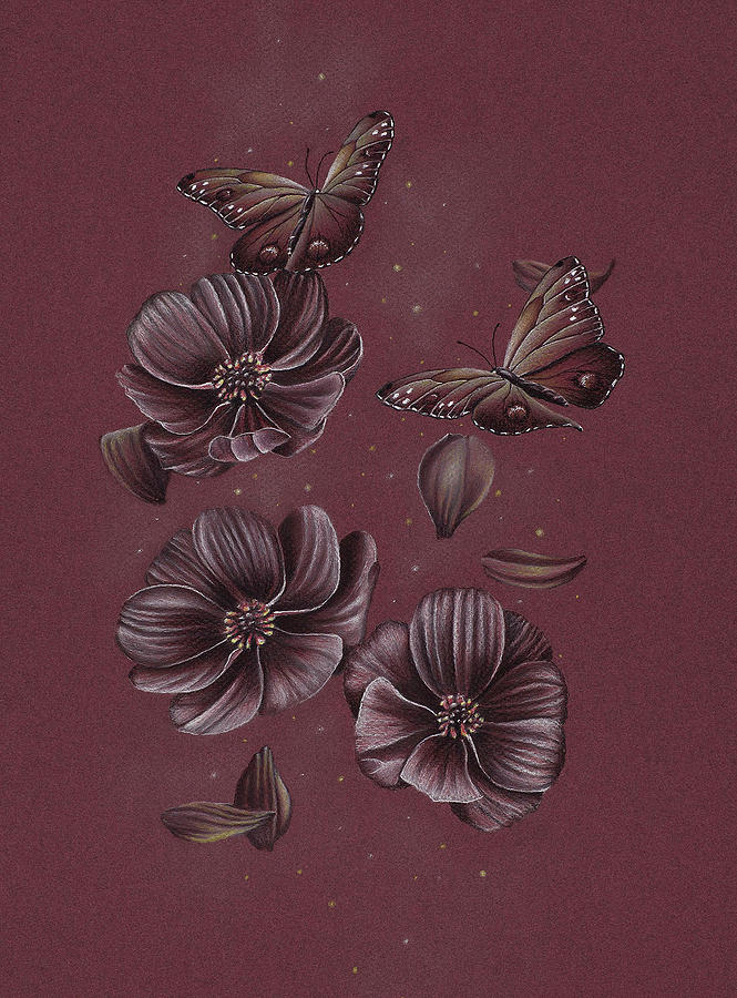 Butterfly Drawing - Butterflies Flying Through The Cosmos by Tiffany Gardiner