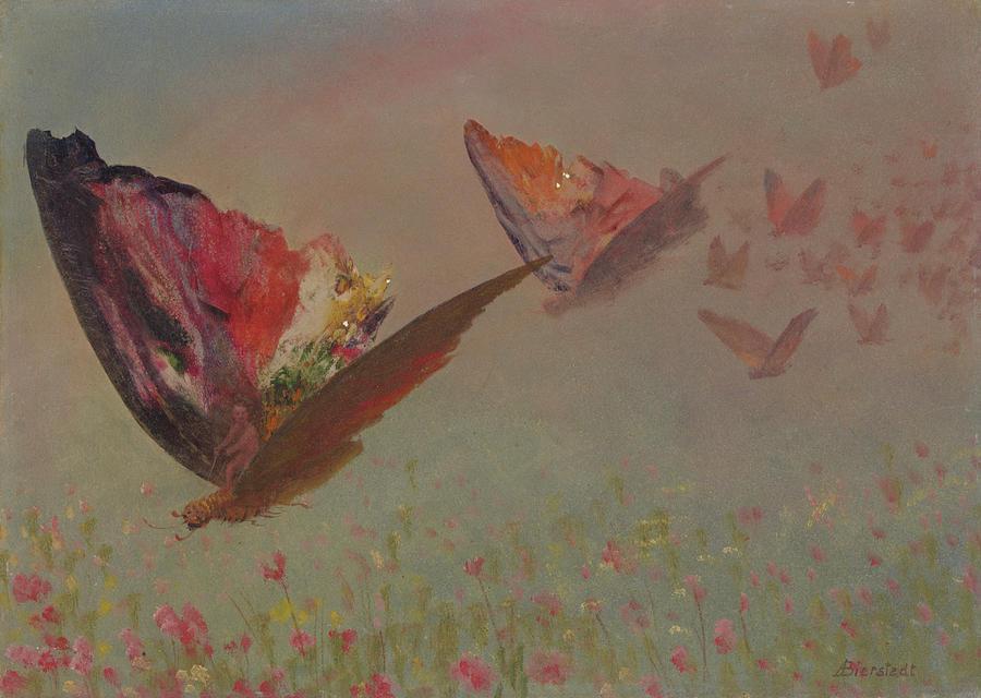 Albert Bierstadt Painting - Butterflies With Riders by Albert Bierstadt