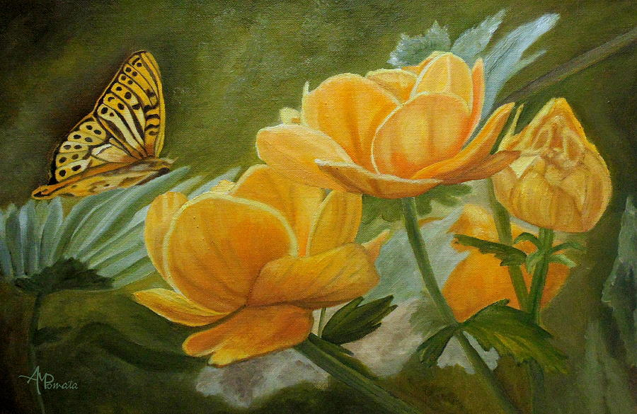 Butterfly among yellow flowers painting by angeles m pomata butterfly painting butterfly among yellow flowers by angeles m pomata mightylinksfo