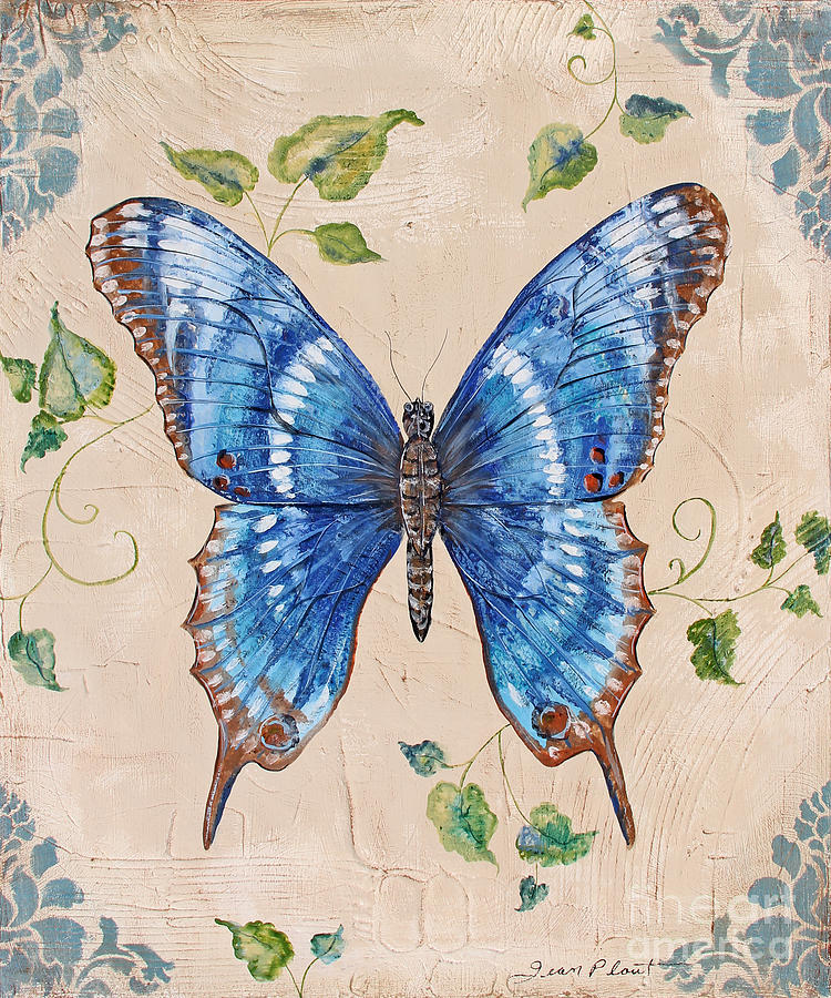 Butterfly Painting - Butterfly Blues-jp3728 by Jean Plout