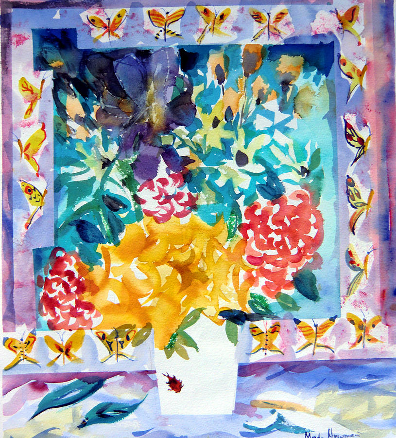 Blue Framed Prints Painting - Butterfly Bouquet by Mindy Newman