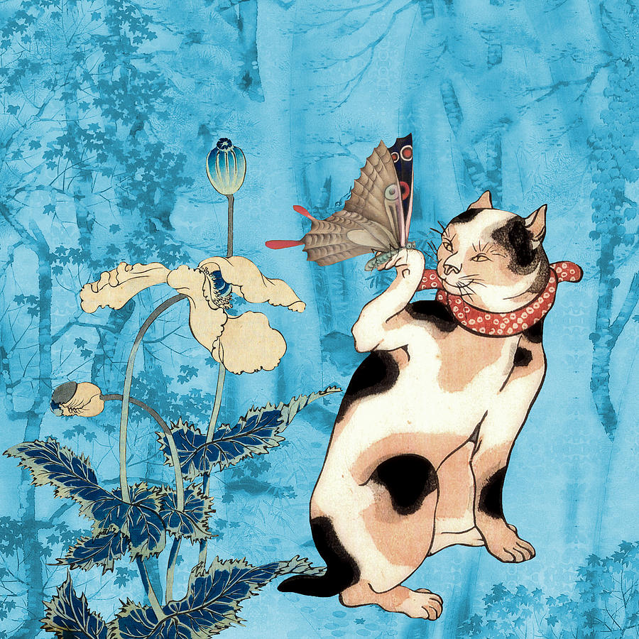 Cats Painting - Butterfly Charmer by Laura Botsford
