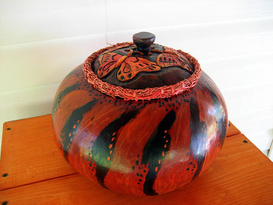 Gourd Mixed Media - Butterfly Covered Bowl by Selma Glunn