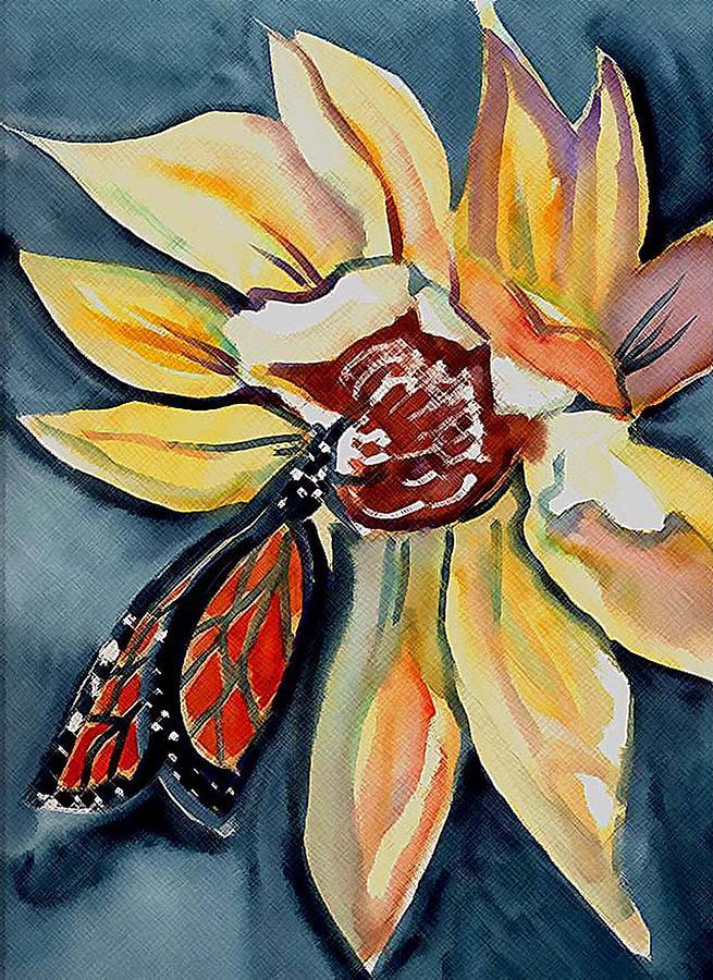Butterfly Painting - Butterfly -cross Hatch by Janet Doggett