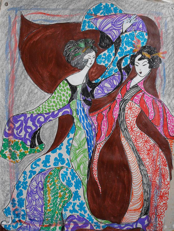 Dance Painting - Butterfly Dance by Helene  Champaloux-Saraswati