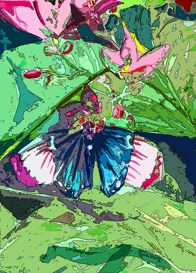 Painting Painting - Butterfly Dining by Mindy Newman