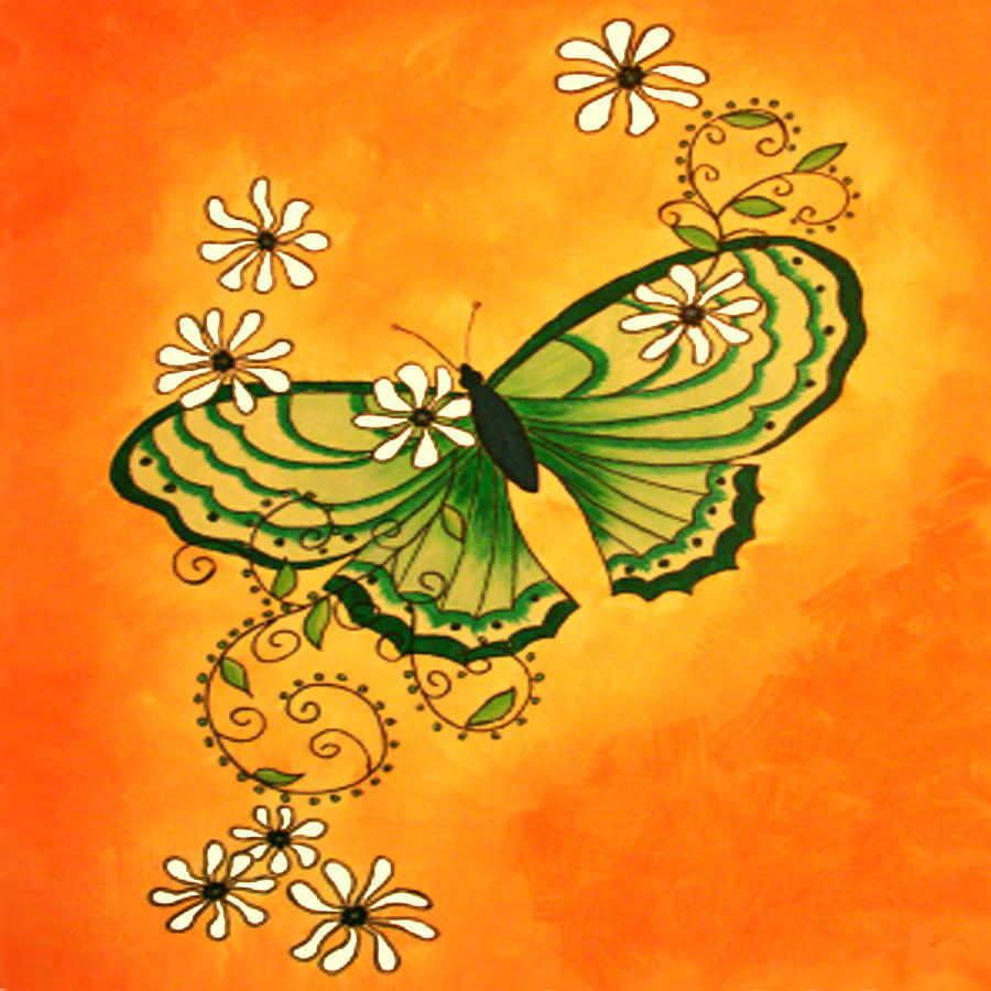 Butterfly Doodle Painting by Karen R Scoville