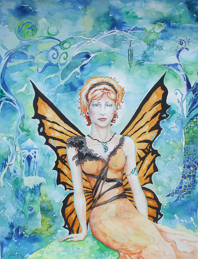 Fairy Mixed Media - Butterfly Fairy by Jennifer Bonset