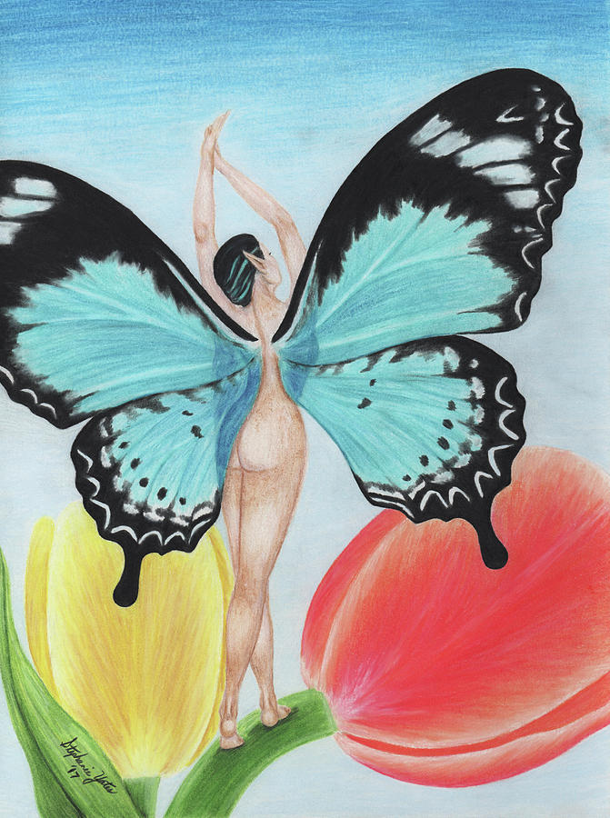 Butterfly Drawing - Butterfly Fairy by Stephanie Yates