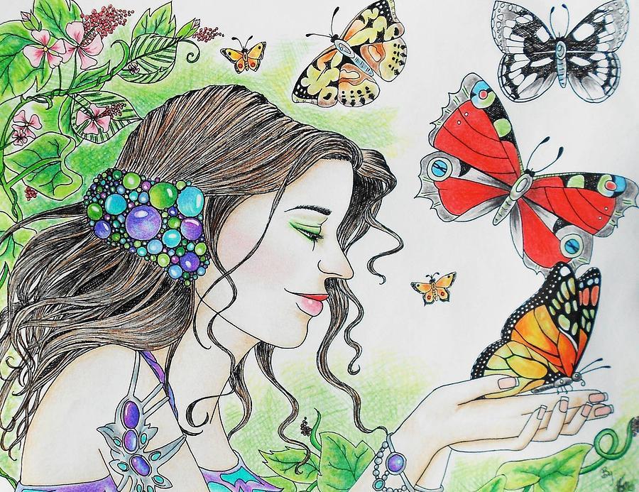 Butterfly Garden Drawing by Monica Franceskino