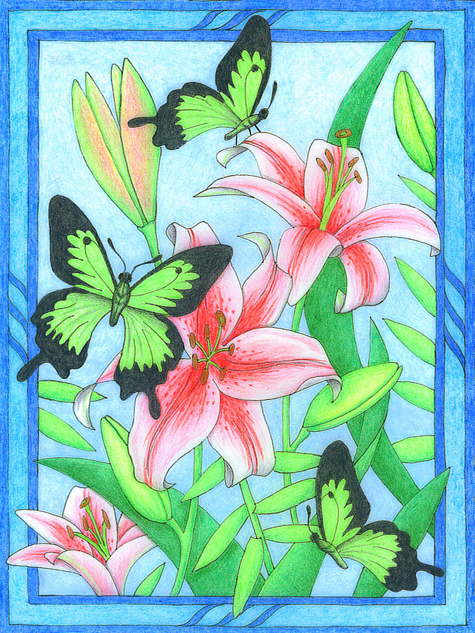 Flower Drawing - Butterfly Idyll- Lilies by Alison Stein