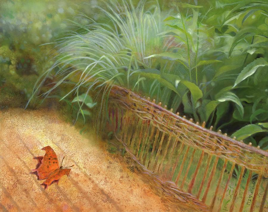 Zen Garden Painting - Butterfly In A Small Zen Sand Garden by Nancy Lee Moran