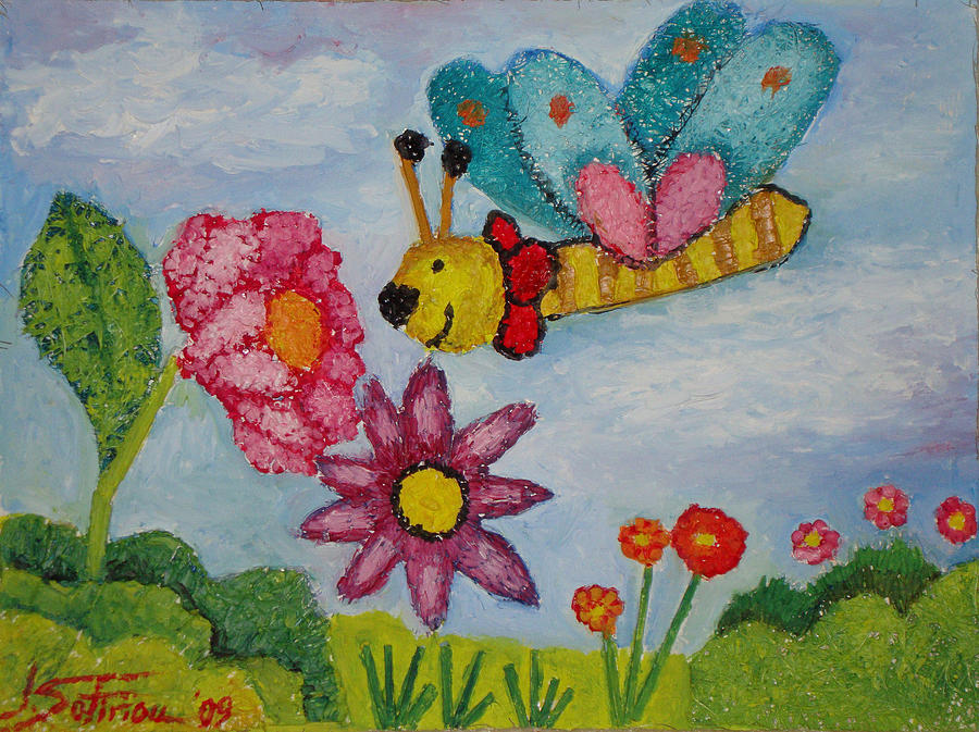 Landscape Painting - Butterfly In The Field by Ioulia Sotiriou