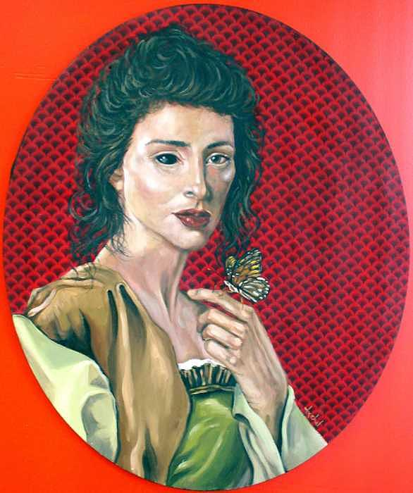 Woman Painting - Butterfly by Ixchel Amor