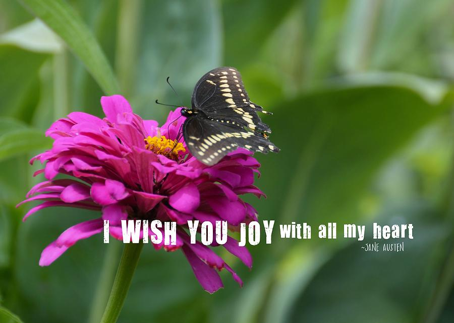 Butterfly Photograph - Butterfly Joy Quote by JAMART Photography
