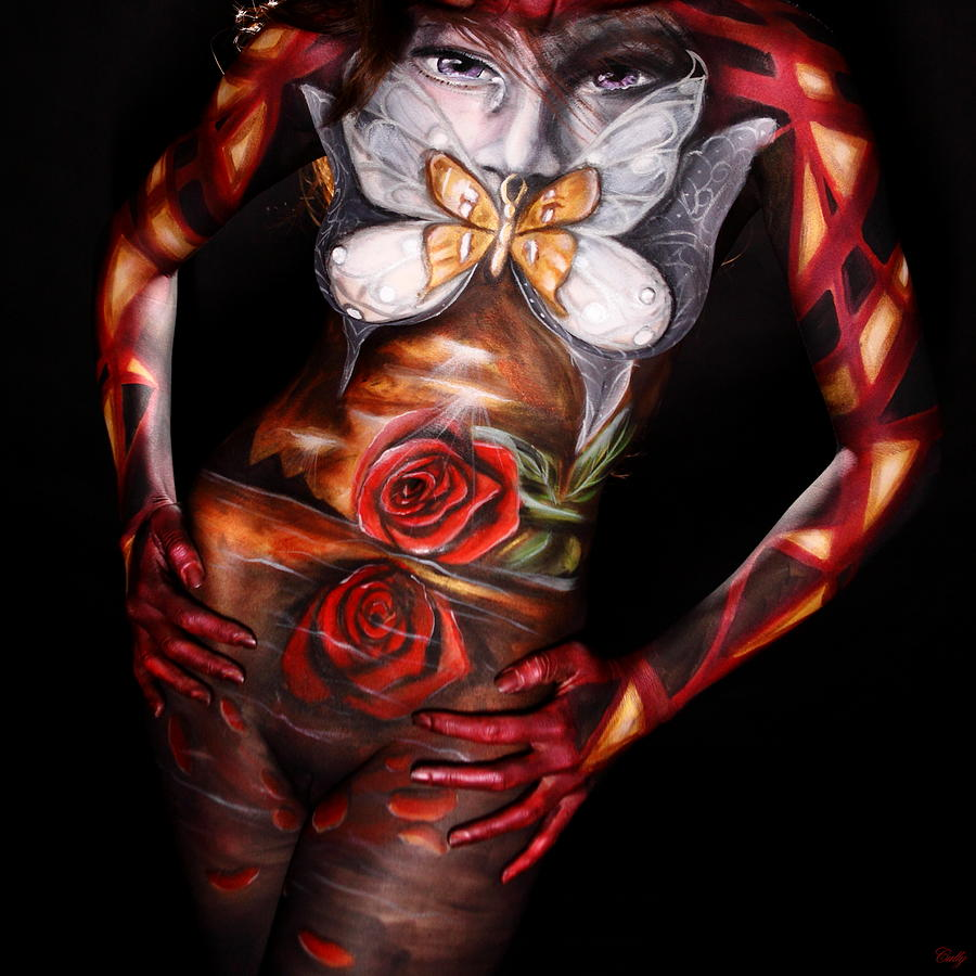 Body Paint Photograph - Butterfly Kisses by Cully Firmin