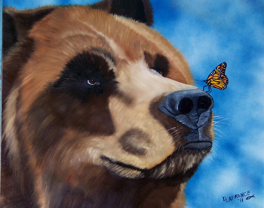 Grizzly Bear Painting - Butterfly Kisses by Debbie LaFrance