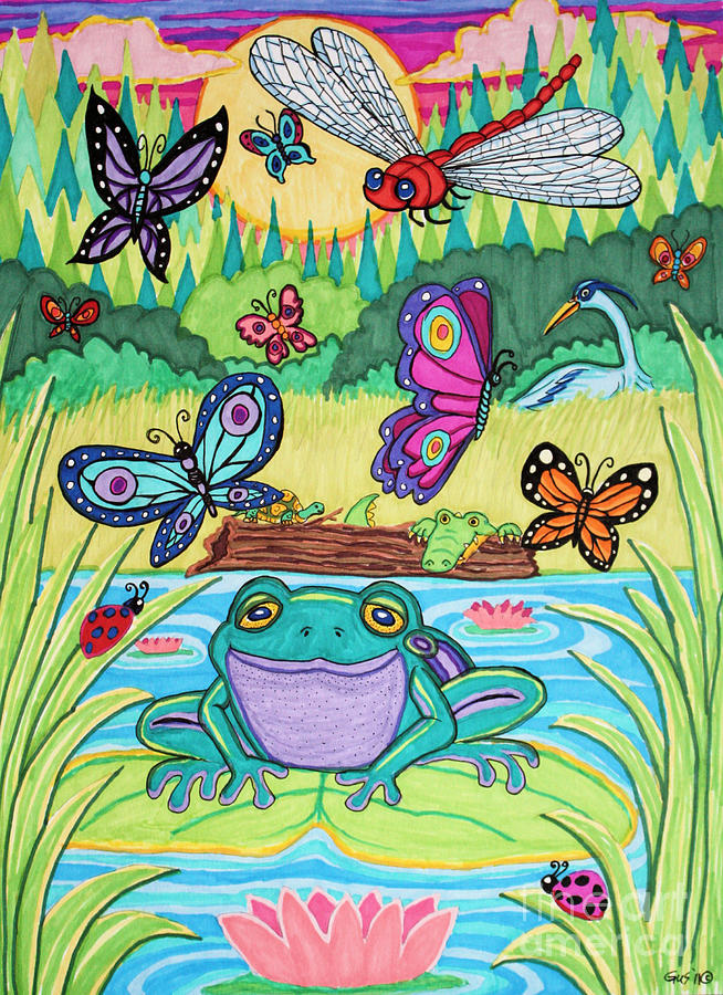 Butterfly Drawing - Butterfly Lake by Nick Gustafson