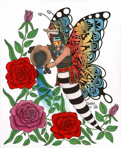 Butterfly Maiden Mixed Media by Alfred Dawahoya