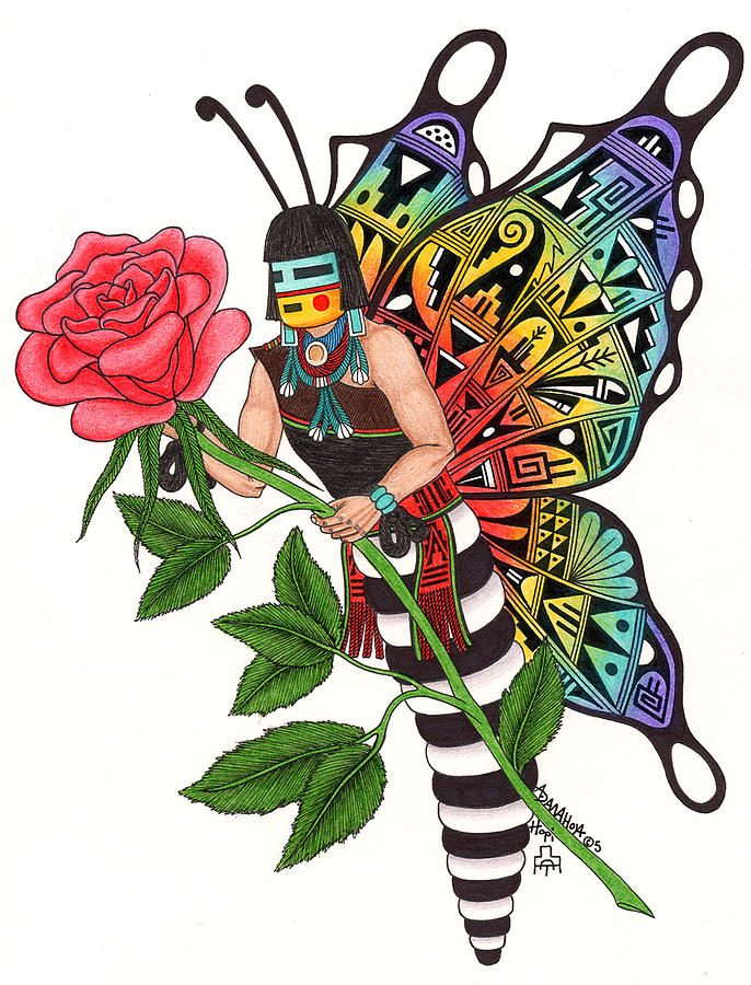Rose Mixed Media - Butterfly Maiden by Alfred Dawahoya