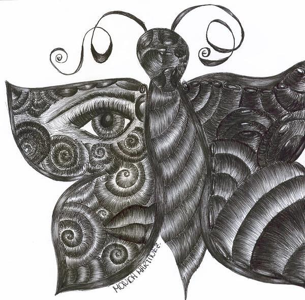 Creation Drawing - Butterfly by Monica  Martinez