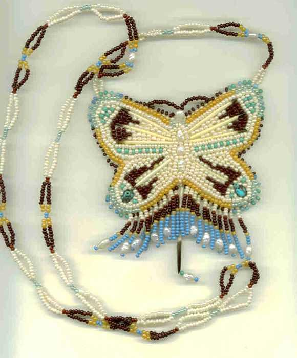 Native American Beadwork Jewelry - Butterfly Necklace by Margaret Platt