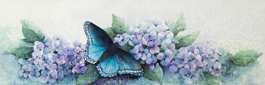 Butterfly on the Hydrangea by Lael Rutherford