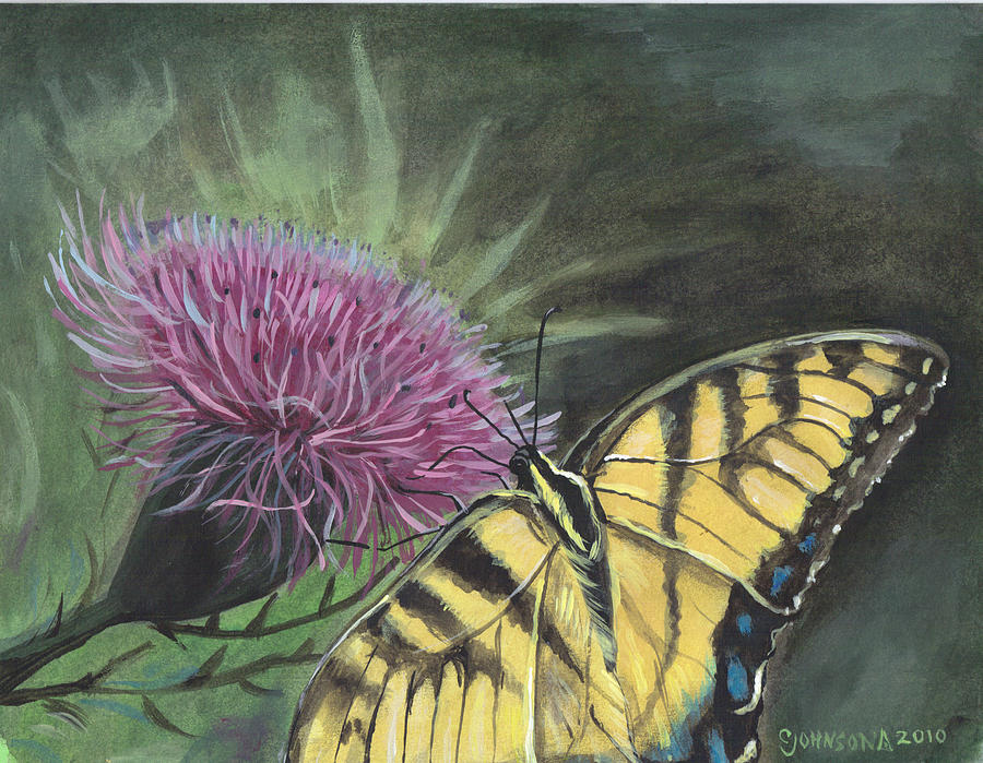Butterfly Painting - Butterfly On Thistle 2010 by Cheryl Johnson