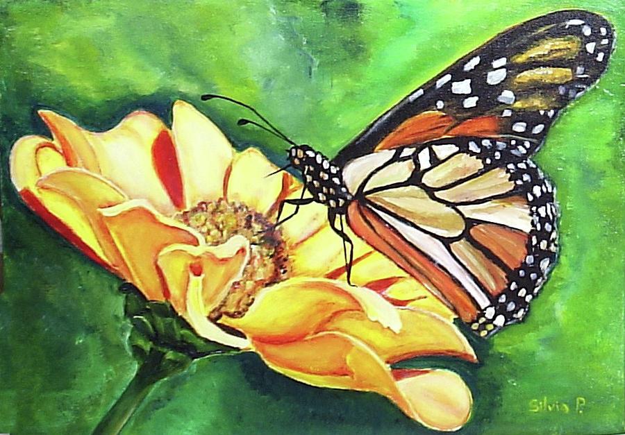 Daisy Painting - Butterfly On Yellow Daisy by Silvia Philippsohn