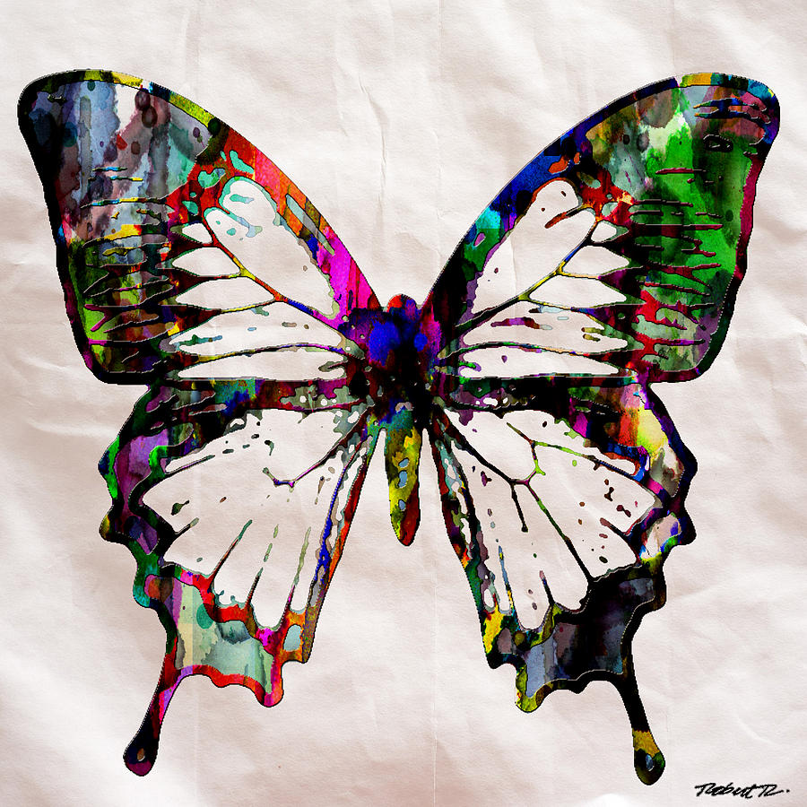 Butterfly Rainbow Painting By Robert R Splashy Art