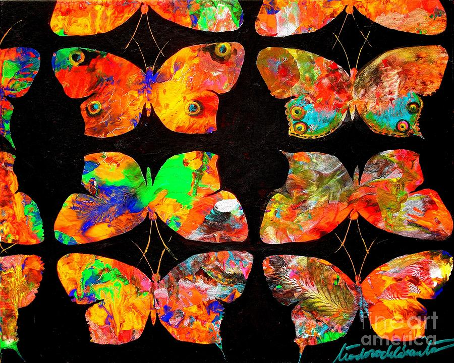 Abstract Paintings Painting - Butterfly Rows  1 by Teodoro  De La Santa