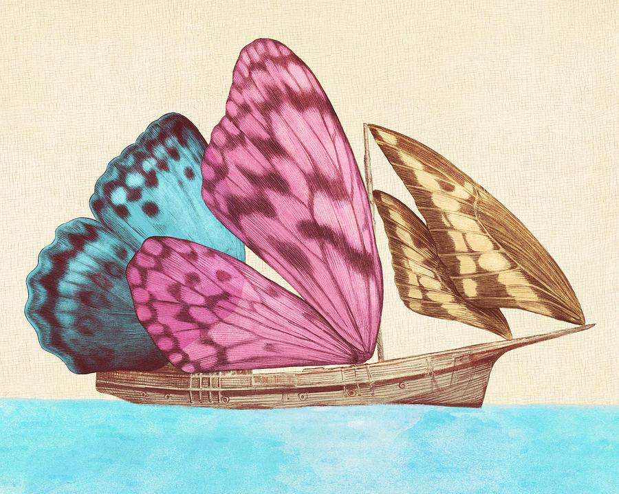 Butterfly Drawing - Butterfly Ship by Eric Fan
