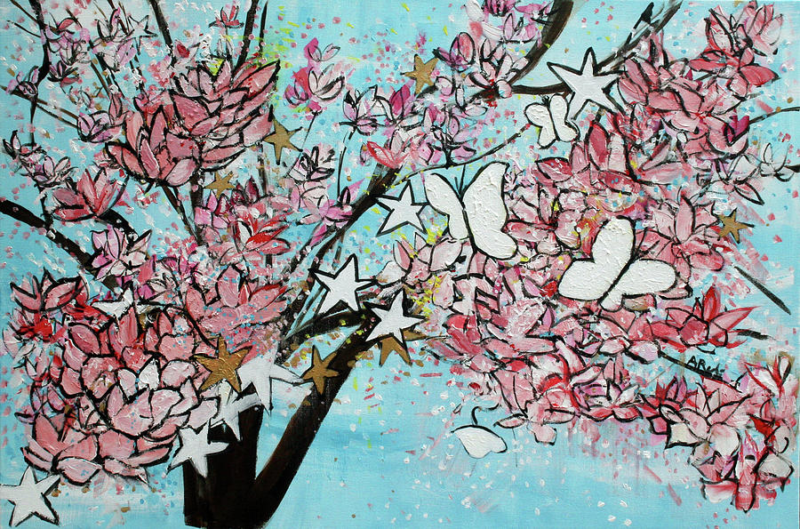 Light Blue Painting - Butterfly Star Magnolia Soulangeana 201825 by Alyse Radenovic