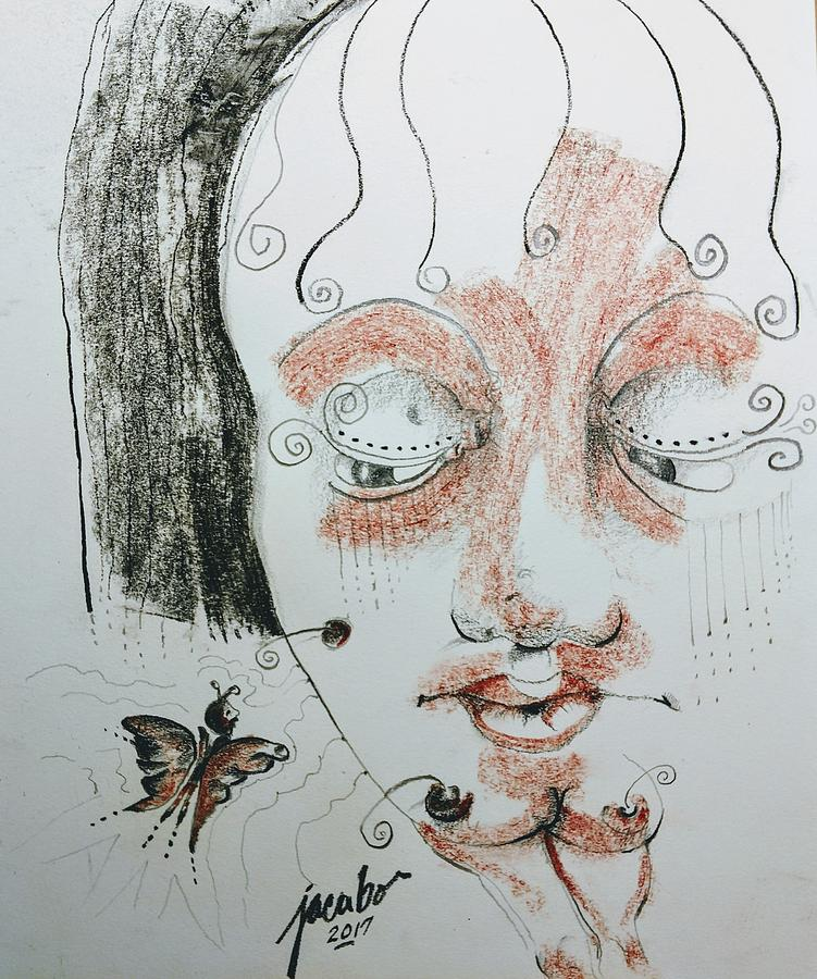 Original Drawing - Butterfly Stare by Jacabo Navarro