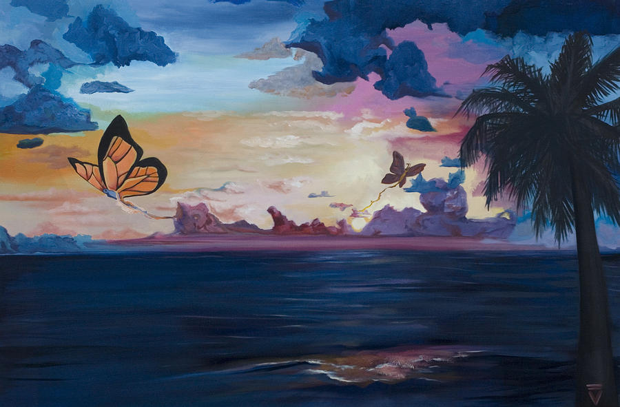 Butterfly Painting - Butterfly Sunset by Victoria Dietz