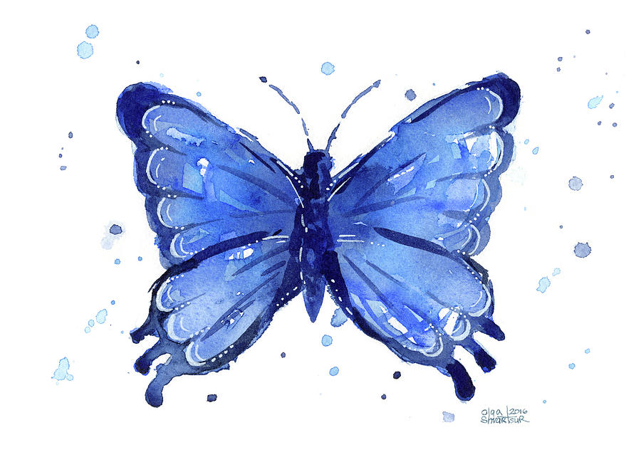 Butterfly Watercolor Blue Painting