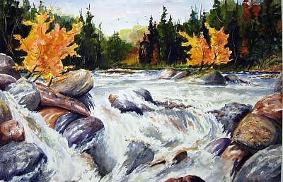 Haliburton Painting - Buttermilk Falls by Wilfred McOstrich