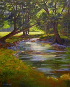 Creek Painting - Butternut Creek - Curve - Framed by Pat Aube Gray