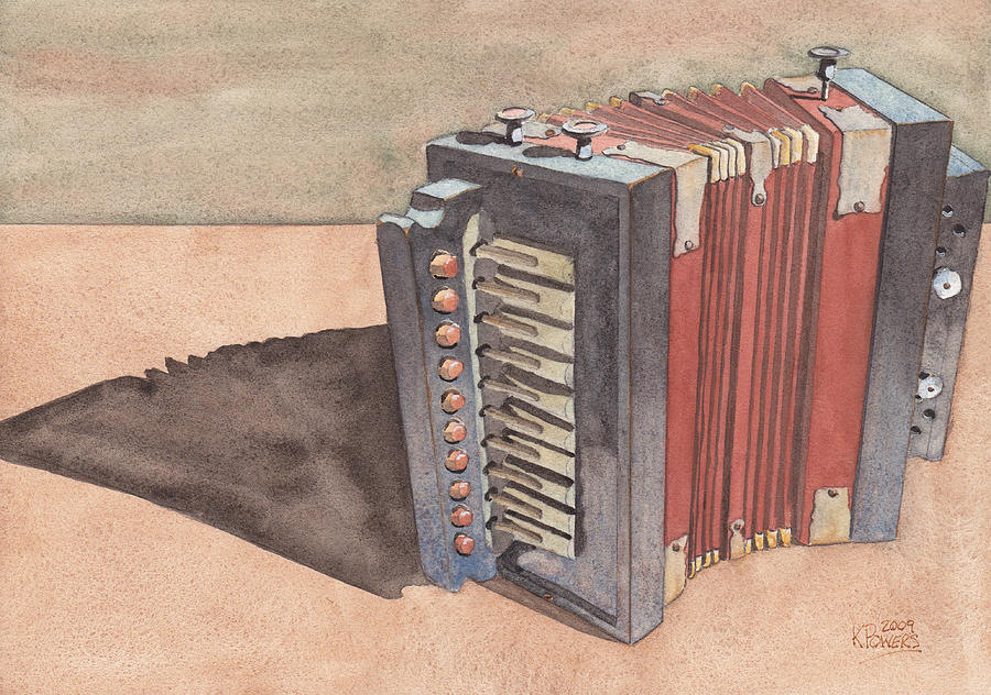Button Painting - Button Accordion by Ken Powers