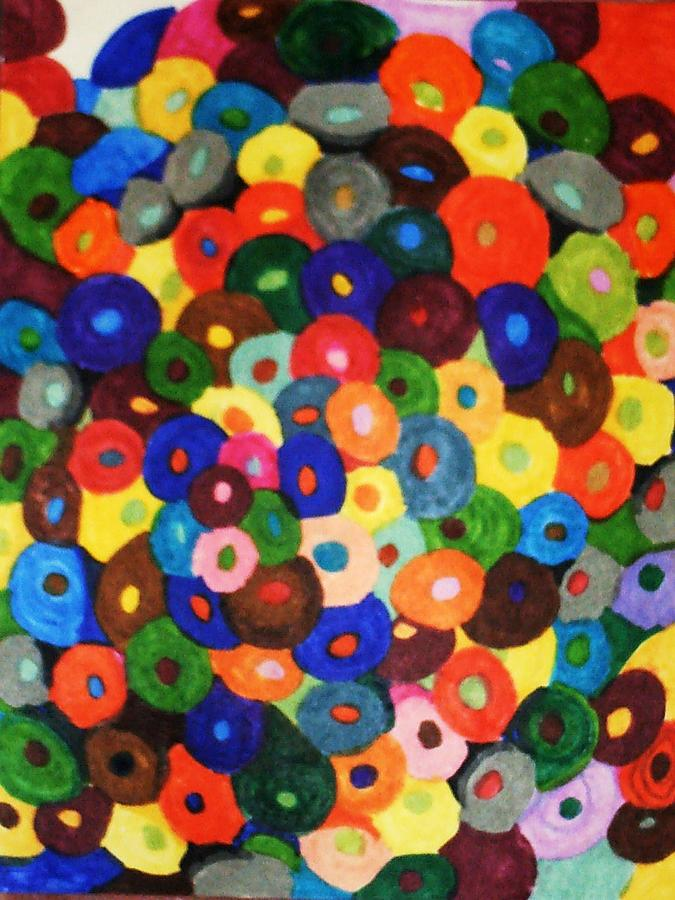 Abstract Drawing - Button Buttons Whose Got The Buttone One by Brenda Adams