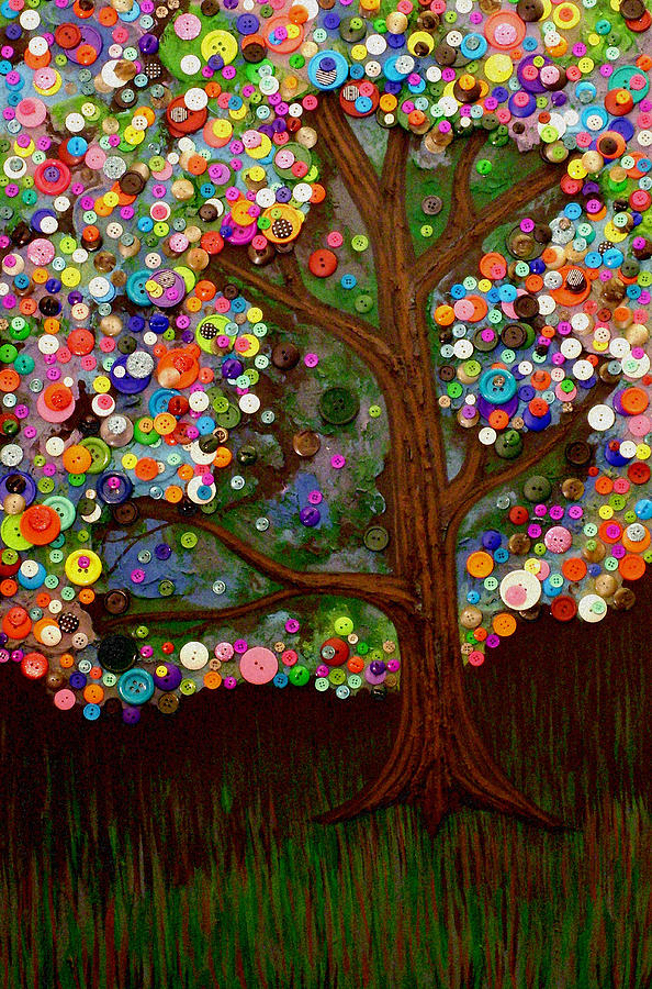 Button Painting - Button Tree 0007 by Monica Furlow