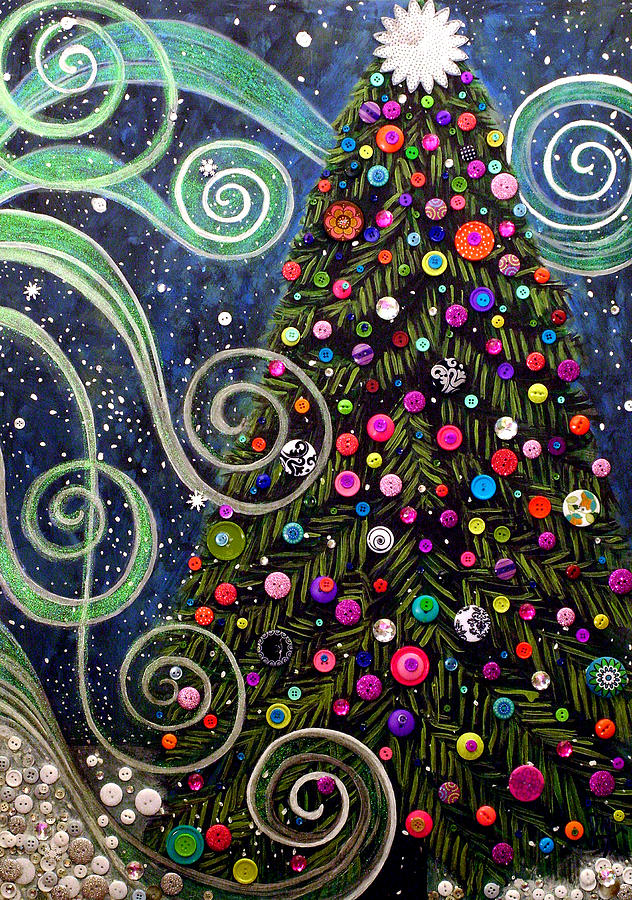 Holiday Painting - Button Tree 0012-holiday by Monica Furlow