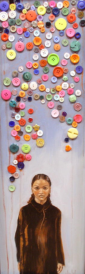 Woman Painting - Buttons by Ixchel Amor