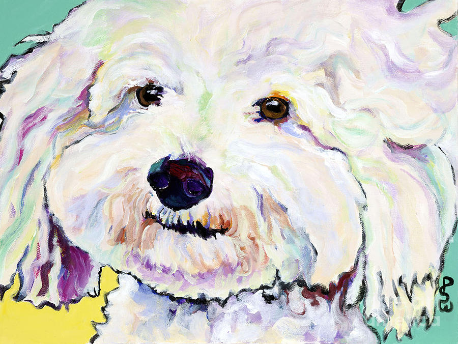 White Dog Painting - Buttons    by Pat Saunders-White