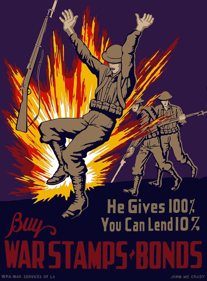 Wwii Painting - Buy War Stamps And Bonds by War Is Hell Store