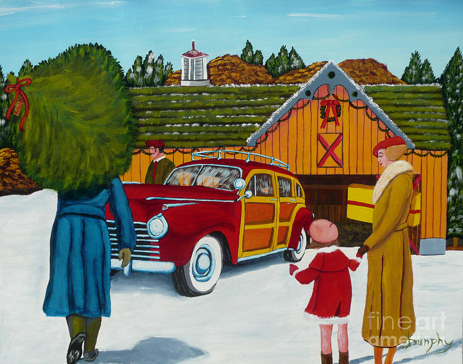 Christmas Painting - Buying The Tree by Anthony Dunphy