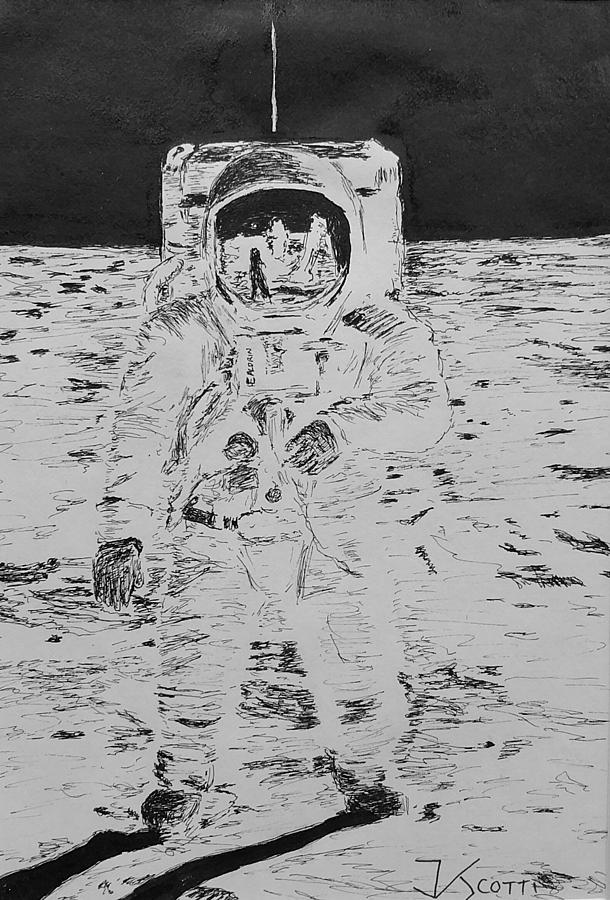 Apollo 11 Drawing - Buzz Aldrin on the Moon by James Scotti